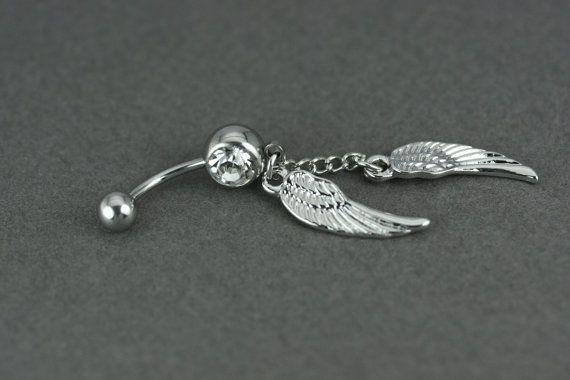 Piercing de nombril, Boule de nombril aile d'anges, Bijoux nombril crystal…