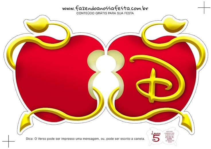Invitaciones de Blancanieves Originales - Modelos Invitaciones Princesas Disney - Invitaciones de Descendientes Disney