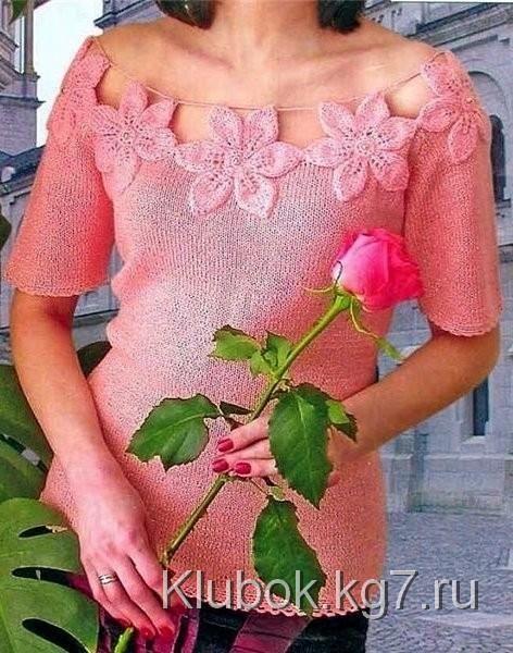 Розовая кофта с цветами | Клубок