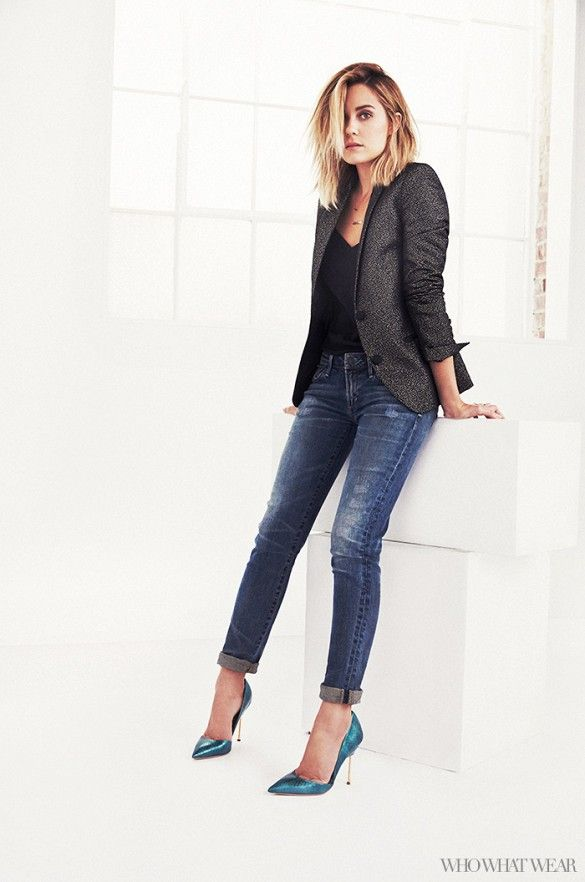 balenciaga watches Such a simple day to night outfit on Lauren Conrad  tailored jacket  skinny jeans  and colorful pointy heels     Photo by Justin Coit