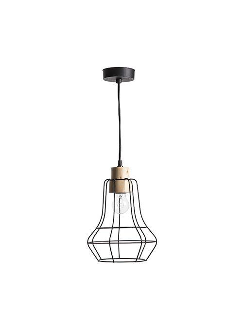 Lampadario a sospensione dallo stile geometrico, a forma di lanterna realizzata con fili in ferro color nero.
