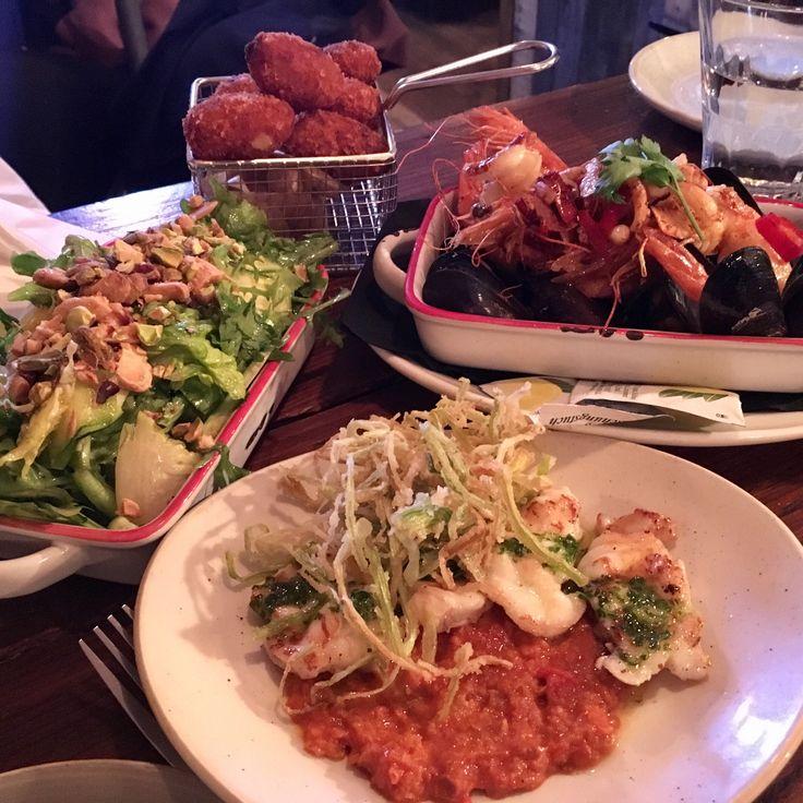 Croquetas, seafood with garlic & chilli, monkfish and a green salad - Lobos Tapas, London Bridge