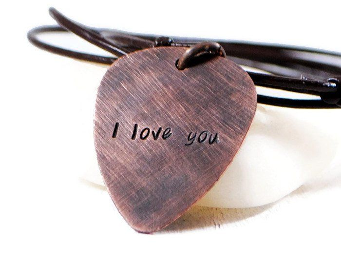 I Love You Personalized Guitar Pick Necklace.