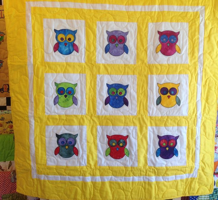 Owl – Yellow Applique 9 – Marble 38 x 38 Inch Cot Size No.2