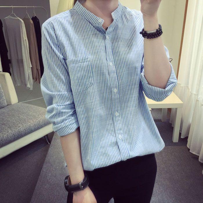 Хлопок Полосатые Женщины Блузки Рубашки Дамы Синий Черный С Длинным Рукавом ПР Офис Рубашка Женщин Классические Рубашки Топы Pluse размер Блузка купить на AliExpress