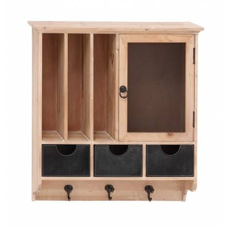 Wooden Wall Hanging Cabinet with Metal Hooks and Details  Bring home this attractiveWooden Wall Hanging Cabinet with Metal Hooks and Detailsthat will add charm to your place. Made of quality materials this Wood metal wall cabinet will last for years. This Wood metal wall cabinet holds striking appeal and thus supports all kinds of interiors. You can add this Wooden Hanging cabinet to any place of your room space and experience the better difference.