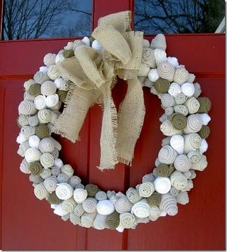 felt flower wreath - roll up felt into flowers and hot glue on form - could do any color