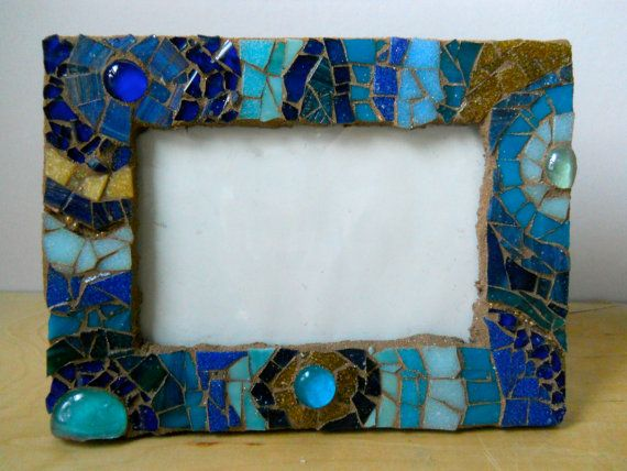 blue and gold mosaic picture frame stained glass by gingerpots 3500 - Mosaic Picture Frames