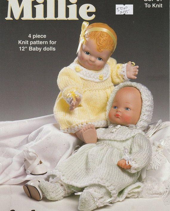 DOLL KNITTING PATTERN for 12 inch baby dolls  Dress by carolrosa, $1.64