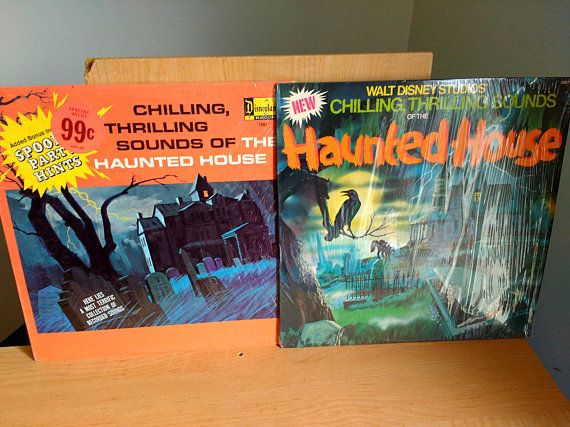 Vintage 1970s Disney records of Haunted House sounds. Two different ones! They are slit open but still have the original plastic intact that has protected the covers so they arent scuffed up. Albums in excellent condition. Even has instructions for a halloween party