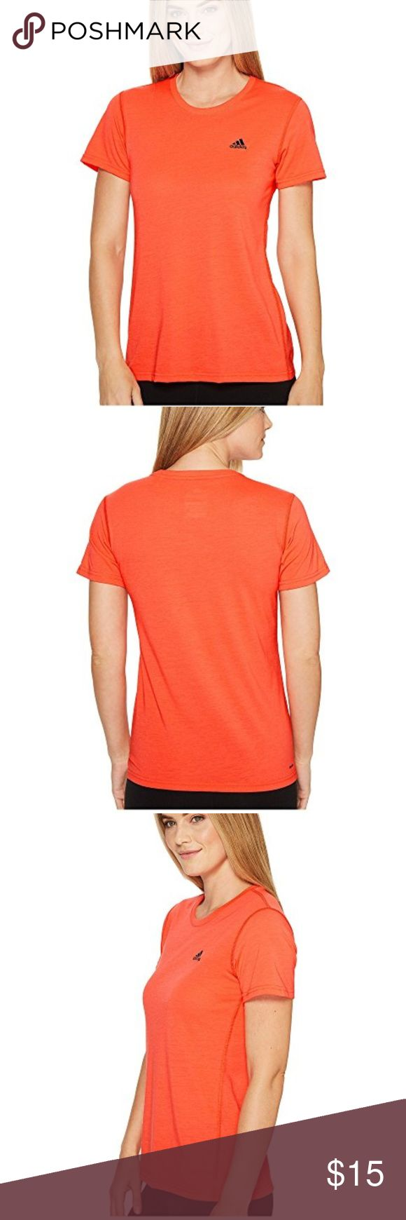 """Adidas Orange Active Workout Short Sleeve T-Shirt Crew neckline, loose fitting. Orange with gray logo on upper left corner of chest. Great for workout, hiking, running or just walking around town.   36"""" Chest, 26"""" Length  100% Polyester  This item is gently used with minor signs of wear adidas Tops Tees - Short Sleeve"""