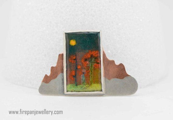 Bemalte Wüste Brosche Emaille Kupfer Sterling von FirepanJewellery