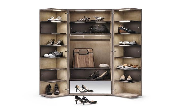 Contemporary shoe rack / stainless steel / wood / high-end - CINDERELLA - YOMEI