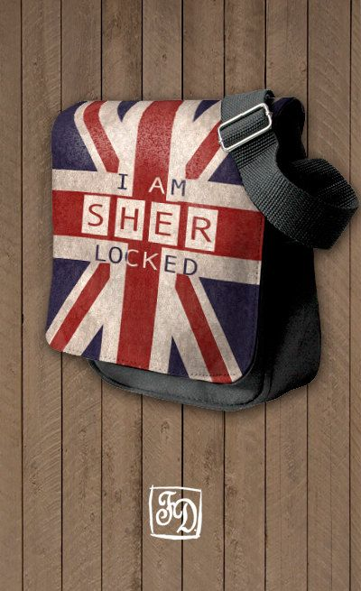 SHERlocked  shoulder bag SHERLOCK HOLMES Union Jack by koroa, $30.00
