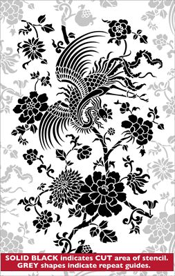Mythical Birds stencil from The Stencil Library online catalogue. Buy stencils online. Stencil code CH41.