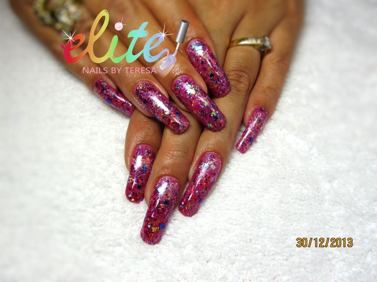 Shellac layered nails Bright pink with stars and glitter