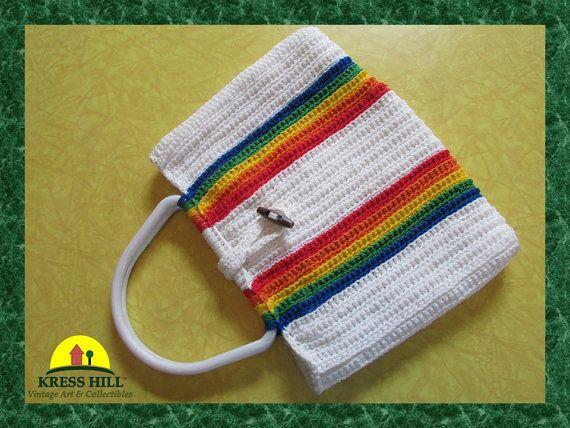 Striped Macrame Purse Handbag Lined Hand Made by KressHillVintage