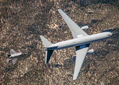 An Italian Air Force KC-767A tanker prepares to refuel an F-35A during their first test sortie Jul 22, 2015. Italy's F-35 program achieved two recent milestones with the completion of the first aerial refueling certification between an Italian Air Force KC-767A tanker with an F-35A and the inaugural flight of an Italian-built F-35A. (Lockheed Martin photo/Jonathan Case)