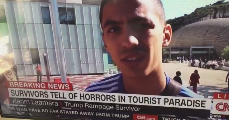 THIS IS CNN: NEWS NETWORK CALLS FRANCE ATTACK WITNESS 'TRUMP RAMPAGE SURVIVOR' Look at the graphic at the bottom of the screen