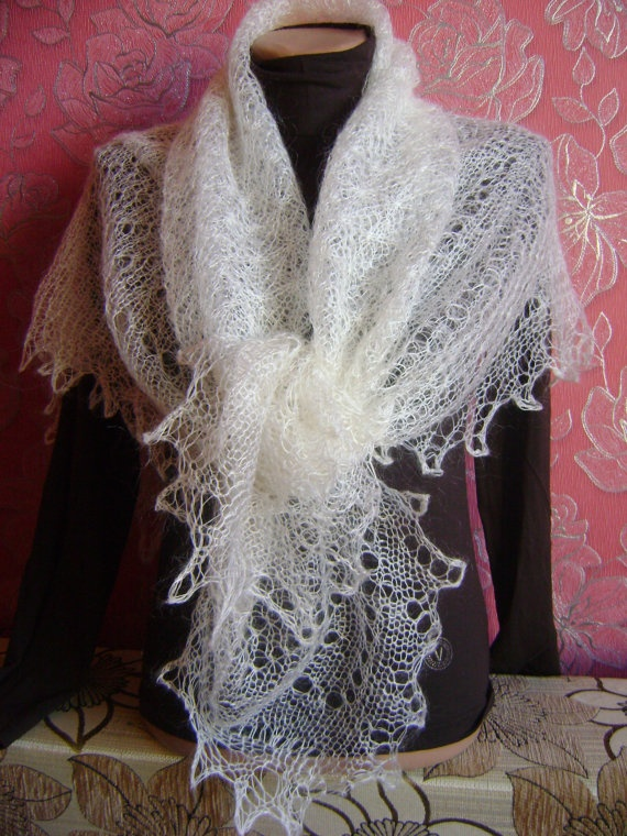 Snowflakes White Hand Knitted Square Shawl by KnittingShelf