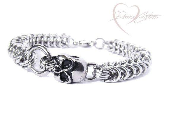 Check out this item in my Etsy shop https://www.etsy.com/listing/262206264/skull-bracelet-skull-jewelry-men-skull