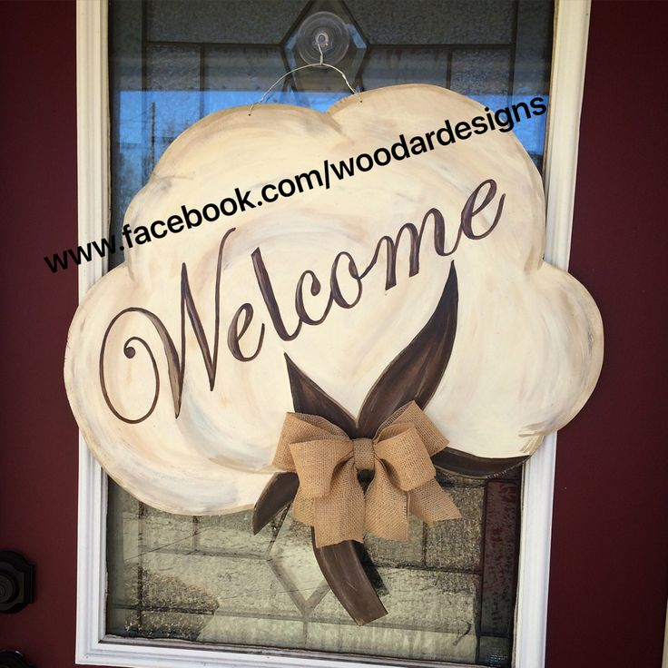Welcome cotton boll wooden door hanger  www.facebook.com/woodardesigns