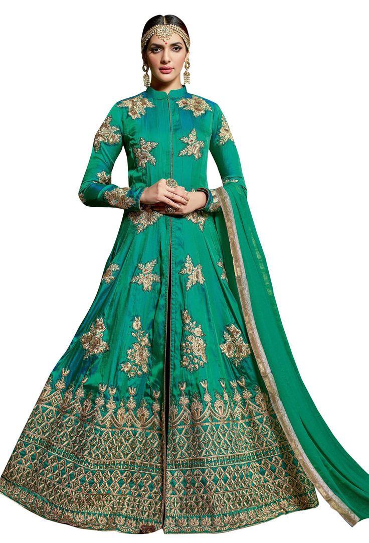 #Teal #Green #Silk #Bridal #Anarkali Salwar Suit #collarneck #Style #sale #dress #Salwar #Kameez #nikvik #usa #designer #australia #canada #suits #collar