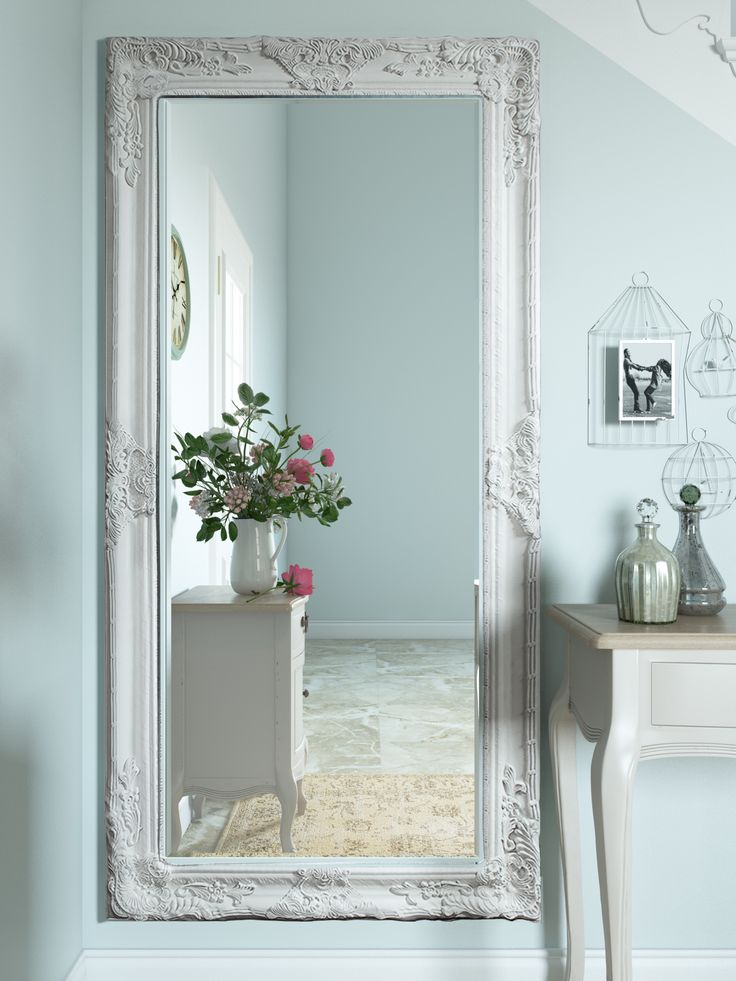 Full Length Mirror in Cream and Silver Wooden Frame