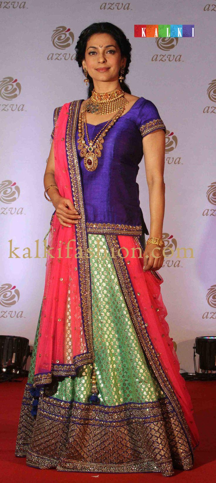 http://www.kalkifashion.com/  Juhi Chawlabeingthe guest of honor at Azva Jewellery in green and pink lehenga by  Bharti Brahmbhatt.