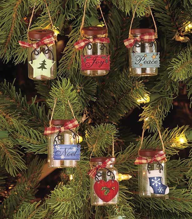 """- Set of 6 - 1-1/4"""" dia. x 2""""H, each - Glass and metal - © 2015 L.C.L. Place this Set of 6 Mini Mason Jar Ornaments over mini string lights, or hang them by themselves for a country-inspired holiday l"""