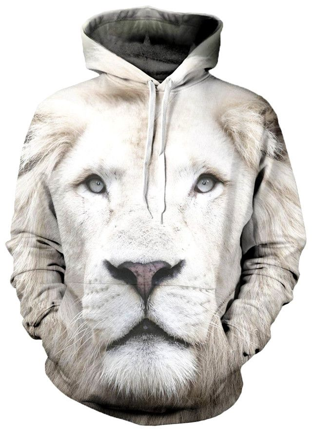 Bold and mysterious. Our Beloved White Lion Hoodie is made of 100 percent polyester. It features a 360 complete visual that is fade resistant and high definition. Our sublimation heat print process en