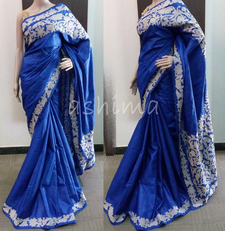 Code:1305162 - Tussar Silk Saree With Applique Work, Price INR:9920/-