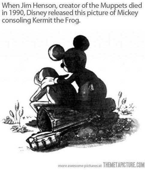 Mickey Mouse consoling Kermit the Frog after Jim Henson's death cartoon illustration via www.Facebook.com/DisneylandForMisfits