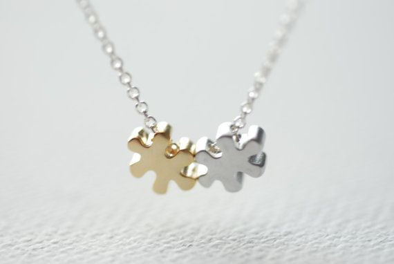 Puzzle Piece Necklace Autism Necklace Autism by heirloomenvy