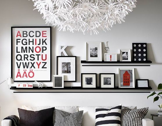 IKEA Picture Ledge Floating Book Shelf Spice Rack Holder Wall Photo MOSSLANDA European DecorLiving Room