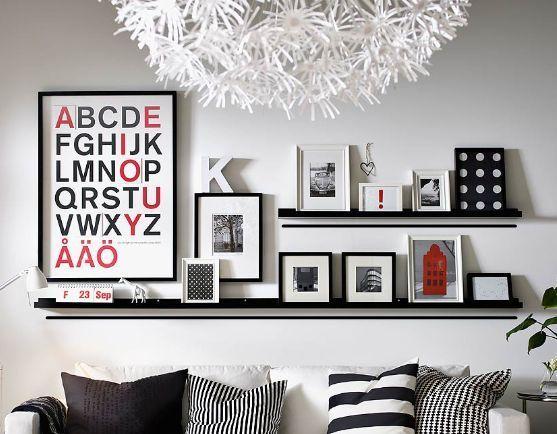 IKEA picture ledge floating shelf spice rack wall photo 55cm white or black #IKEA