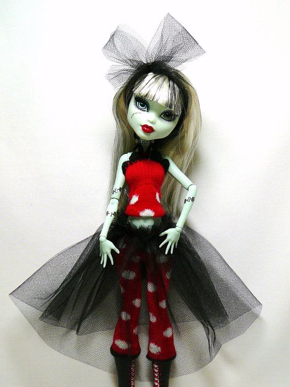 Monster High Doll Clothes - Top & Leggings with attached Tutu - original fashions by mizzfitzdolls