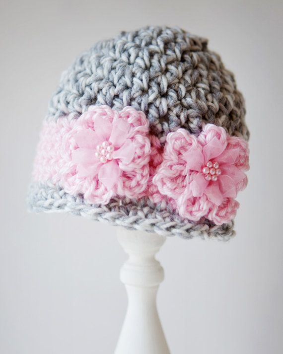 Items similar to Crochet Newborn - 3 months Grey and Pink Beanie on Etsy