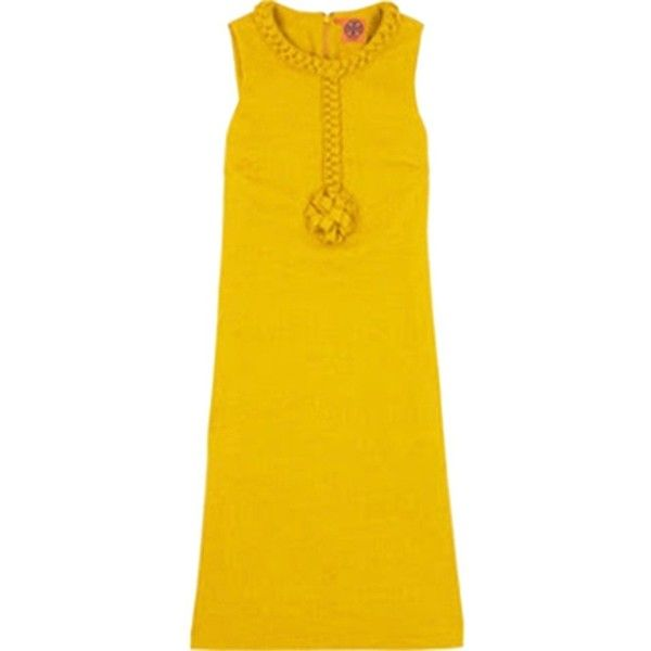 Pre-owned Tory Burch Dress (8.610 RUB) ❤ liked on Polyvore featuring dresses, mustard yellow, night out dresses, holiday party dresses, yellow cocktail dress, yellow party dress and mustard yellow dress