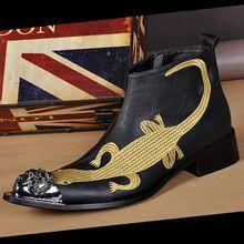 Kişiselleştirilmiş Erkekler Siyah Iş Eğlence Deri Ayakkabı Yüksek Üst Moda…