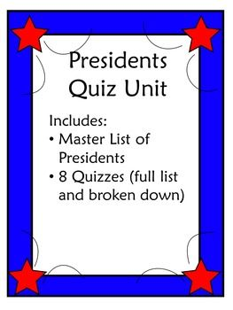 Free quiz pack to use when teaching the Presidents of the United States. This includes a master list of the presidents and seven quizzes. Each quiz adds more to the list students must know. First quiz is 1-11, next is 1-15, next is 1-20, 1-25, 1-30, 1-35, 1-45Check out my other Social Studies products:Budget Unit ProjectCurrent Event: Crime and DrugsCore Democratic Value BookConstitution UnitCurrent Event Write Up FreebieThis work is licensed under a Creative Commons Attribution-Nonco...