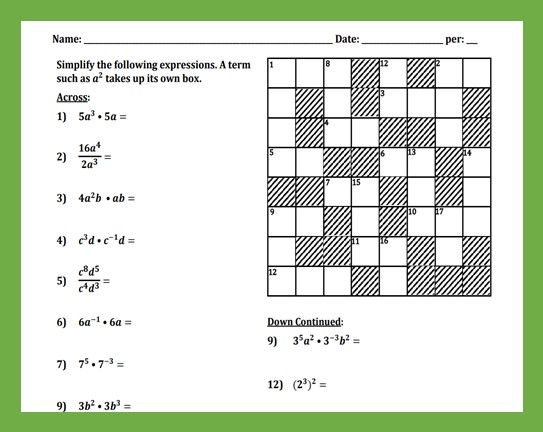 Laws of Exponents Cross-Number Puzzle   Number puzzles ...