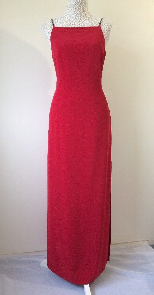 4b37c2625ed4 Stunning Ladies Long Red Spaghetti Strap Backless Elinette Dress - Size 12  | eBay