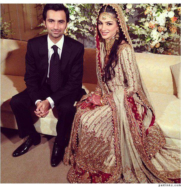Cream And Red Bunto. Pakistani and Indian Wedding Fashion Dress.