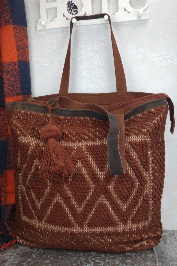 Τσάντα χειροποίητη πλεκτή καφέ  Nirvana   7b422915501