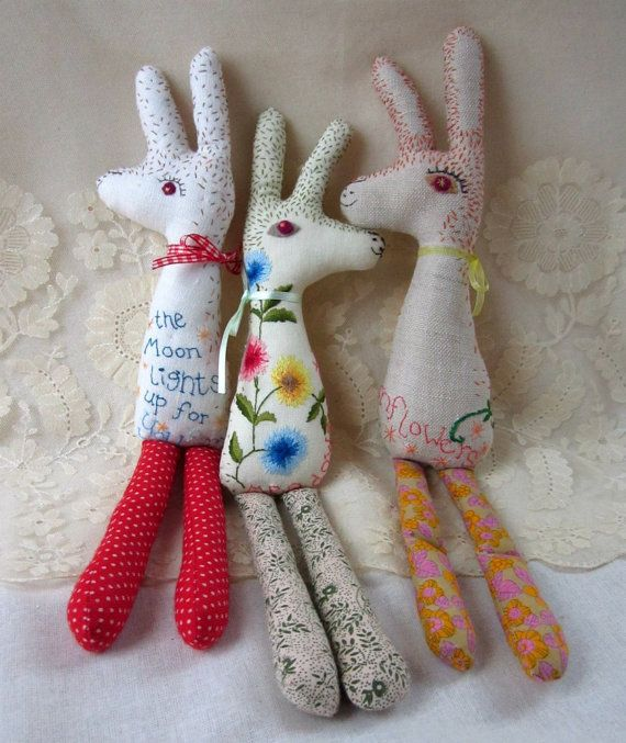 Baby Bean the Hand Embroidered Fabric Hare | murgatroyd and bean