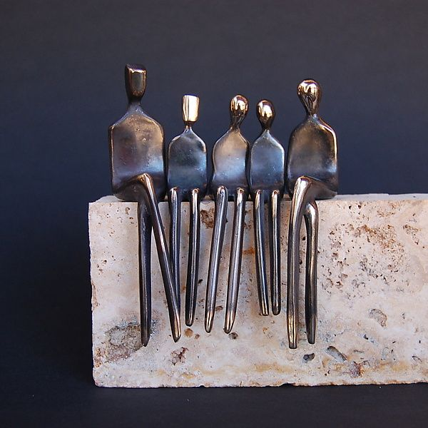 Family of Five by Yenny Cocq: Bronze Sculpture available at www.artfulhome.com