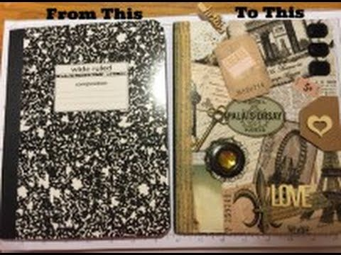 Altered Composition Book transformed - part 2 - into a Vintage Junk Journal - Flip through - YouTube
