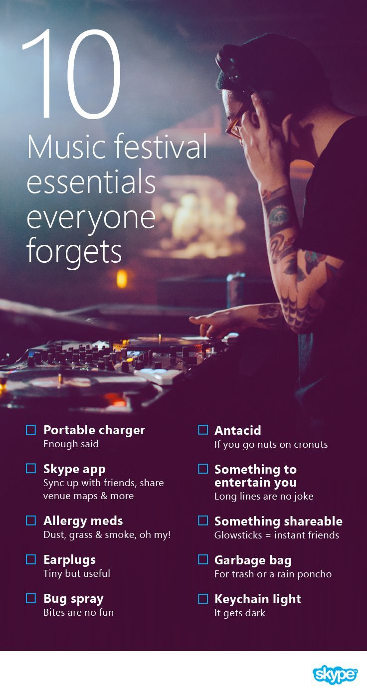 Packing for a summer music festival? Here's a checklist of 10 essentials to bring to Coachella, Reading, Sasquatch, Bonnaroo, and more so you can come prepared and make the most of your festival experience.
