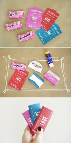 "Creative: Eleven Cute Handmade Valentines  Super clever! > In Honor Of Design shares ""CHEWS TO LOVE"" Gum wrapper printables!"